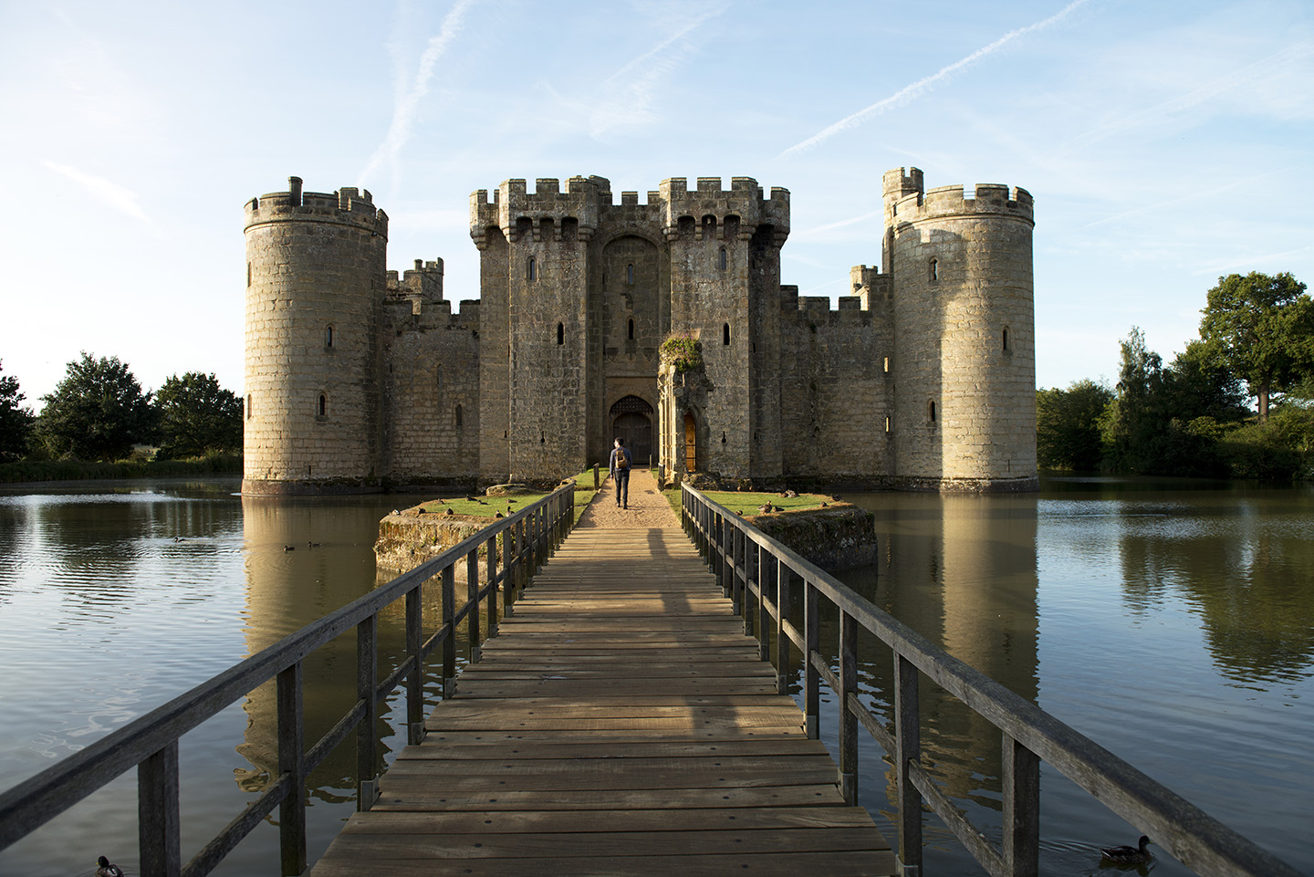 Visitor on the Approach to Bodiam Castle, East Sussex.